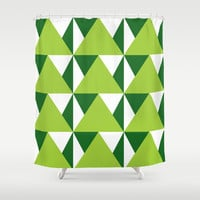 Geometric Pattern 3-Green Shower Curtain by mollykd
