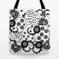 Floral Circles of Life Tote Bag by EML - CircusValley