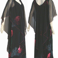 1970s Black Vintage Maxi Dress & Sheer Cape | NeldasVintageClothing - Clothing on ArtFire