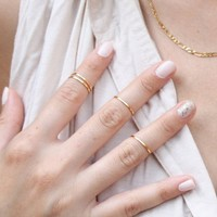 Mokingtop Fashion New 5PCS/Set Rings Urban golden Stack Plain Cute Above Knuckle Ring Band Midi Ring