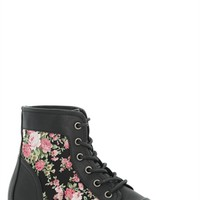 Lace Up Combat Boot with Floral Print Side