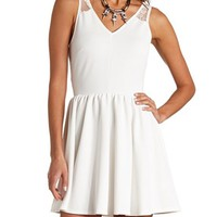 RIBBED LACE SKATER DRESS