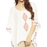Embroidered Trim Poncho | Wet Seal