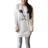 Partiss Womens Cat Face Sweatshirt , One Size, White