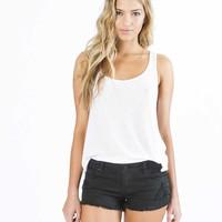 LITE HEARTED-SIDE TIE DENIM SHORTS