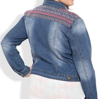 Plus Size Reign Denim Jacket with Western Embroidery