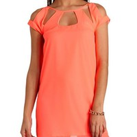 CUT-OUT NEON CHIFFON SHIFT DRESS