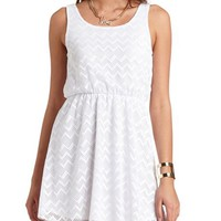CHEVRON EYELET CROCHET DRESS