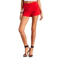 BOW-TOPPED HIGH-WAISTED SHORTS