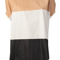 DROME - Leather Colorblock Top - DPD0352 D499 EA/WH/BL - H. Lorenzo