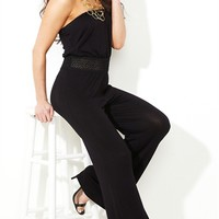 Strapless Jumpsuit with Crochet Waistband