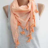 Peach cotton triangle scarfspringsummer scarf by sascarves on Etsy