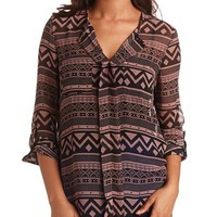 TRIBAL PRINTED PULLOVER BLOUSE