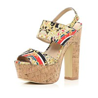 Red scarf print cork platform sandals