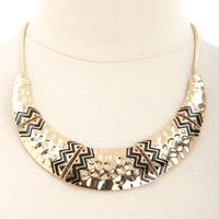 HAMMERED TRIBAL-ETCHED RHINESTONE COLLAR NECKLACE