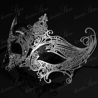Silver Gossip Girl Serena Masquerade Mask w/ Diamonds Limited Edition by 4everstore