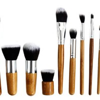 Quality-Perfect 11 Pcs Makeup Brush Set Kabuki Powder Foundation blusher Cosmetic Bamboo Handle