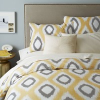 Organic Ikat Diamond Duvet Cover, Full/Queen, Horseradish