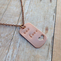 One Love Necklace, Bob Marley Hand Stamped Heart