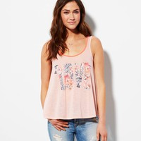 AE RUFFLE BACK GRAPHIC TANK