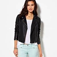AE CROPPED VEGAN LEATHER MOTO JACKET