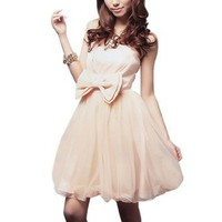 Allegra K Lady Strapless Ruffled Veil Wedding Party Mini Dress Beige