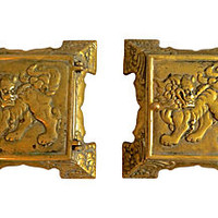 Brass Foo Dog Trinket Boxes, Pair