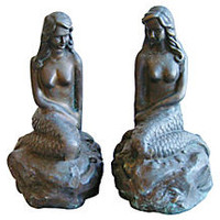 1950s Brass Mermaid Bookends