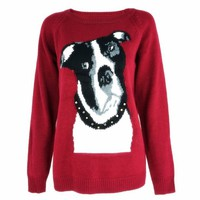 Bulldog Print Jumper with Studed Embellishment