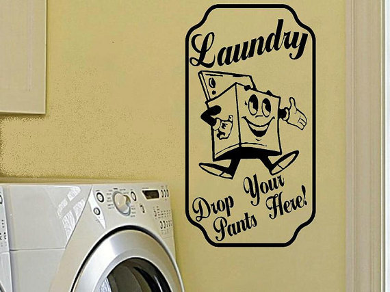 vinyl wall decal Retro vintage sign Laundry by WallDecalsAndQuotes