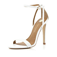 White barely there stiletto sandals - shoes / boots - sale - women