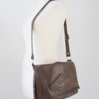 70s Brown Leather Cross Body Flap Bag // Vintage Pastille Shoulder Purse // Messenger Handbag