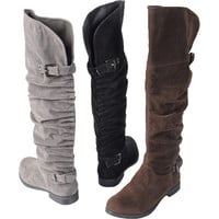 Brinley Co. Womens Buckle Detail Slouchy Boots | Meijer.com