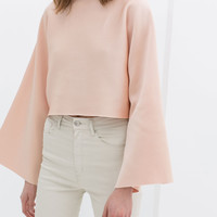 CROP TOP WITH WIDE SLEEVES