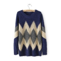 Long Sleeve Geometric Pattern Knit Sweater DP0310
