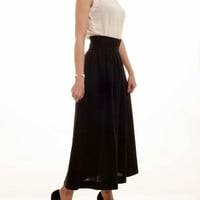 70's vintage high waist black maxi skirt M L