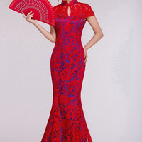 YannyExpress | Chinese Wedding Dress Red Lace Gown Bridal Mermaid Cheongsam