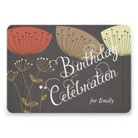 Dandelions on Charcoa Linen Custom Birthday Invite