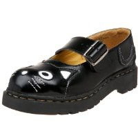 T.U.K. Women's Cat Mary Jane Flat,Black Leather,9 M US