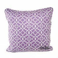 PURPLE And WHITE PILLOW - In a Trellis Pattern, Self Welt, Reversible -Available in Multiple Sizes