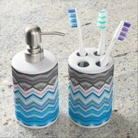 Blue Waves - Toothbrush Holder +Soap Dispenser