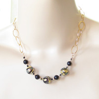 Murano Glass Black Dichroic Ball Gold Chain Necklace, Venetian Jewelry, Italian