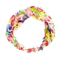 FLORAL PRINT CHIFFON TWISTED HEADWRAP