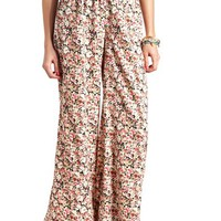 FLORAL PRINTED HIGH-WAISTED PALAZZO PANTS