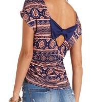 SIDE-RUCHED BOW-BACK PRINTED TOP