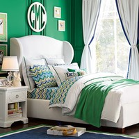 Raleigh Wingback Bed, Queen, Twill White