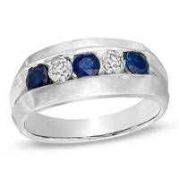 Men's Sapphire and 1/3 CT. T.W. Diamond Ring in 10K White Gold - View All Rings - Zales