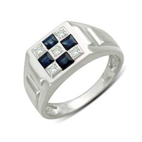 Men's Princess-Cut Blue Sapphire and 1/8 CT. T.W. Diamond Checkerboard Ring in 10K White Gold - View All Rings - Zales