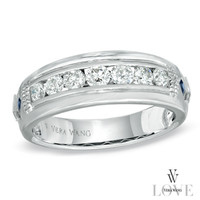 Vera Wang LOVE Collection Men's 3/4 CT. T.W. Diamond Wedding Band in 14K White Gold - View All Rings - Zales