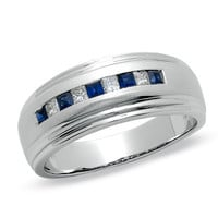 Men's 1/5 CT. T.W. Princess-Cut Diamond and Sapphire Band in 14K White Gold - View All Rings - Zales